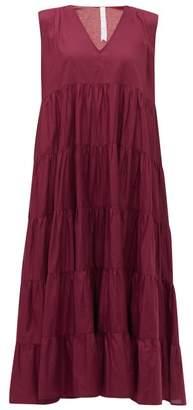 Merlette New York Santa Elena Tiered Cotton-lawn Midi Dress - Womens - Burgundy