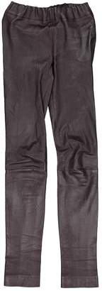 The Row Brown Leather Trousers