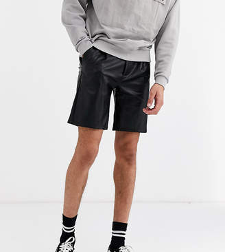 Asos Design DESIGN Tall slim shorts in faux leather-Black