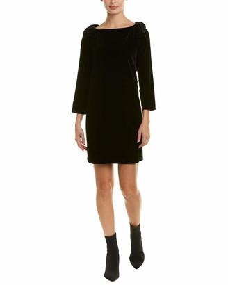 French Connection Women's Auore Velvet 3/4 Sleeve Black Dress 2