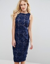 Coast Phillipa Artwork Lace Midi Dress in Navy
