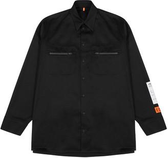 Heron Preston Black Cotton Twill Overshirt