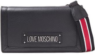 Love Moschino Logo-appliqued Pebbled-leather Shoulder Bag