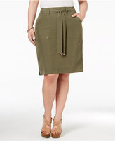 INC International Concepts Plus Size Belted Cargo Skirt, Only at Macy's