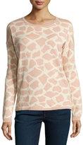 Minnie Rose Giraffe-Print Jacquard Sweater, Pink Dusk