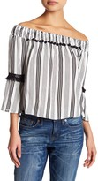 Flying Tomato Stripe Fringe Detail Off-the-Shoulder Shirt