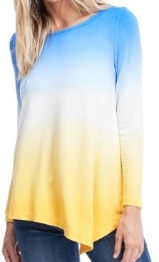 Fever Long Sleeve Dip Dye T-Shirt