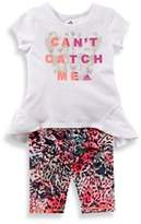 "adidas Size 9M 2-Piece ""Can't Catch Me"" Cap-Sleeve Top and Capri Tight Set in White"