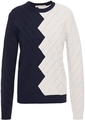 Autumn Cashmere Two-tone Pointelle-knit Sweater