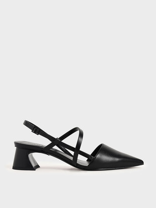 Charles & Keith Strappy Trapeze Heel Court Shoes