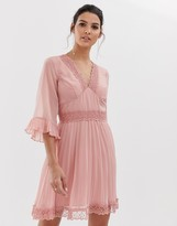 Asos Design DESIGN pleated mini dress with lace inserts
