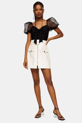 Topshop Ecru Crocodile Zip PU Mini Skirt