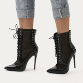 Public Desire Eshal Lace Up Mesh Detail Pointed Toe Ankle Boots Patent