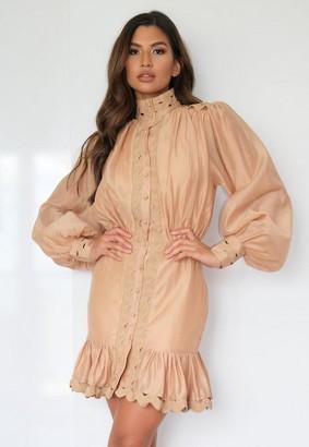 Missguided Premium Taupe Balloon Sleeve Frill Mini Dress