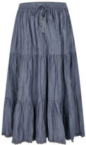 Yours Clothing Yoursclothing Plus Size Womens Chambray Tiered Crinkle Maxi Skirt Crinkle Fabric