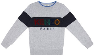 Kenzo Kids Embroidered cotton and cashmere sweater