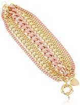 """Giles & Brother Giles and Brother Rose and Yellow Gold-Tone Multi-Chain Bracelet, 8"""""""