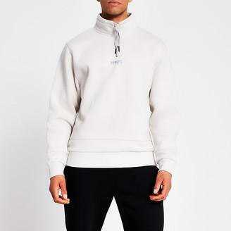 River Island Prolific stone half zip sweatshirt