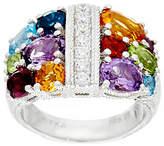 Judith Ripka Sterling Silver 4.0 cttw Multi-gemstone Diamonique Ring
