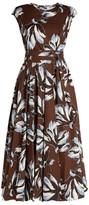 Max Mara Sleeveless Floral Cotton Midi Dress