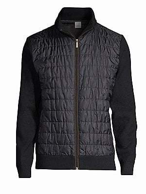 Bugatti Men's Quilted Sweater Bomber Jacket