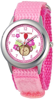 Red Bubble Red-Bubble Watch W002083-Girls-educational Pink Quartz White Dial Strap-Nylon