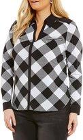 Peter Nygard Plus V-Neck Collared Shirt