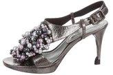 Celine Embellished Metallic Leather Cage Sandals