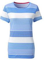 Classic Women's Plus Size Active Short Sleeve T-shirt-Sea Cliff Blue Stripe