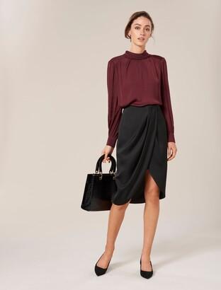Forever New Vivianna Satin Wrap Midi Skirt - Black - 10