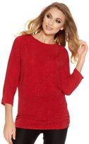 Quiz Red Glitter Ruched Batwing Sleeve Top