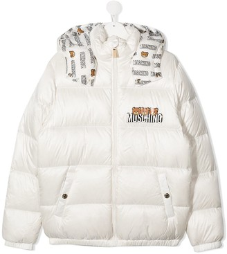 MOSCHINO BAMBINO Teddy Print Puffer Jacket