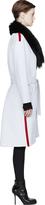 Denis Gagnon White & Black Detachable Fur Collar Coat