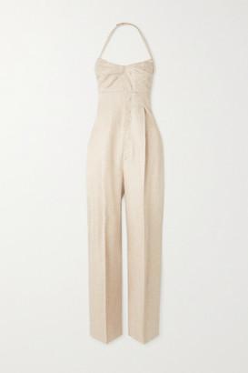 Jacquemus Cutout Linen-blend Halterneck Jumpsuit - Beige