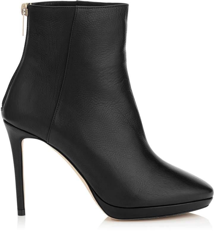 Jimmy Choo HARVEY 100 Black Grainy Calf Leather Platform Ankle Boots