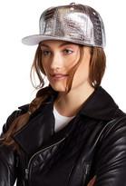 Steve Madden Metallic Faux Leather Snapback Hat