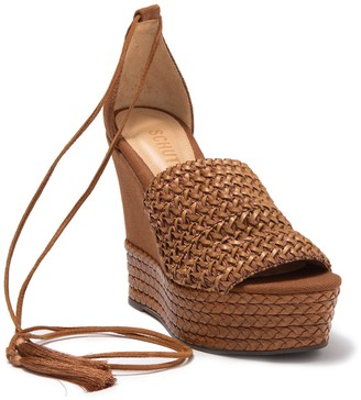 Schutz Francis Woven Leather Wedge Sandal
