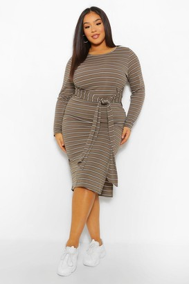 boohoo Plus Stripe Tie Front Midi Dress