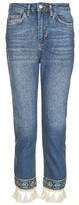 Topshop MOTO Applique Straight Leg Jeans