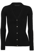 Alexander Wang Embellished Ribbed Cotton Cardigan - Black
