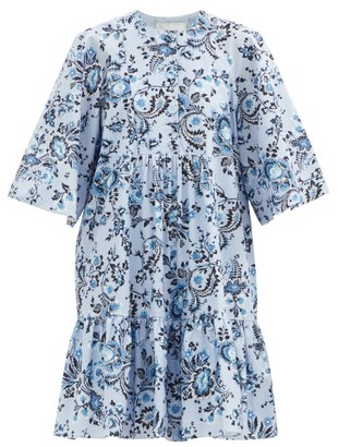 Erdem Edison Graphic Vine-print Cotton-poplin Dress - Light Blue