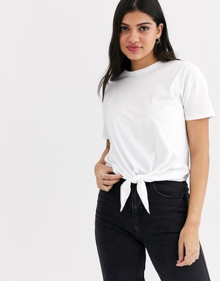 New Look tie front tee in white