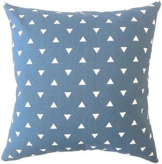 The Pillow Collection Jacobyna Geometric Down Filled Throw Pillow in Navy