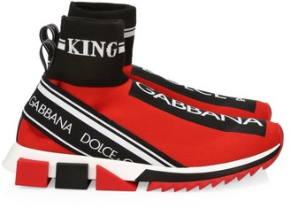 Dolce & Gabbana Sorrento Hi-Top Knit Trainer Sneakers
