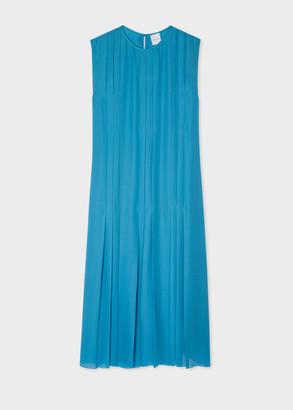 Women's Blue Silk Georgette Pintuck Dress