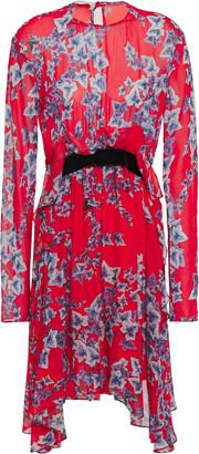 Philosophy di Lorenzo Serafini Asymmetric Velvet-trimmed Floral-print Georgette Mini Dress
