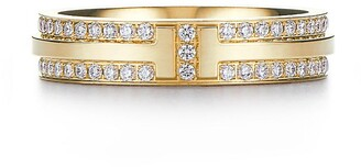 Tiffany & Co. & Co. T Two narrow ring in 18k gold with pave diamonds - Size 9