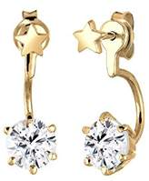 Elli 0305230415 Women's Front and Back Pierced Earrings in 925 Silver, Star Designs, Partially Gold-Plated, White Swarovski Crystal in Brilliant Cut