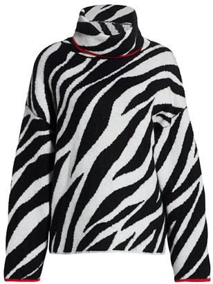 Rag & Bone Kiki Zebra-Print Funnel-Neck Sweater