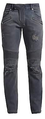 Balmain Men's Distressed Biker Jeans